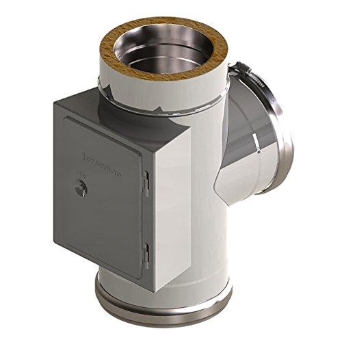 Ø 130 mm Schornstein - Anschluss T-Stück 90° mit Reinigungsöffnung