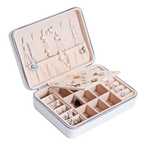 YYDS Joyería de la Caja Portable del Organizador del almacenaje exhibición de la joyería Caja de joyería del sostenedor de la Cremallera de la Pulsera del Collar Pendiente Anillo (Color : White)