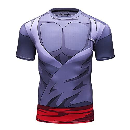 Anime Dragon Ball Costume Goku Black Zamasu Workout Compression 3D Muscle Skin Short Sleeve T-Shirt for Men(M)