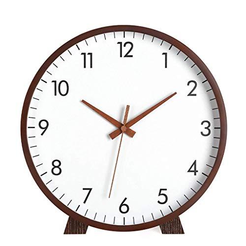 YYM Reloj de Mesa Reloj Retro de Escritorio Living Reloj de Mesa de Madera Maciza Decoración Simple Péndulo Reloj Creativo Reloj Relojes, 12 Pulgadas