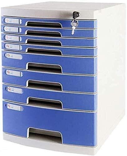 Organizador Para el Escritorio Presentar Box-azul Gabinete de almacenamiento de oficina de mesa de escritorio con cerradura del cajón del armario de datos Medio Ambiente anti-off hebilla de plástico P