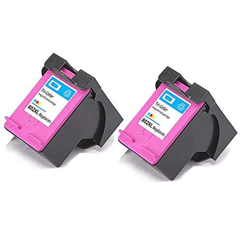 SXCD Cartucho de Tinta 802XL, reemplazo de Alto Rendimiento para HP DeskJet 1000 1015 1510 2050 envidia 4500 5530 OfficeJet 2620 4630 Impresora de inyección de Tinta negr 2 Tri-Color