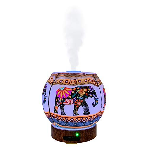 EssentialLitez Essential Oil Diffuser Ultrasonic Handcrafted 120ml Aroma Essential Oil Cool Mist Humidifier with Adjustable Mist Mode, Auto Shut-Off and 7 Color LED Lights Changing (Ethnic Elephant)