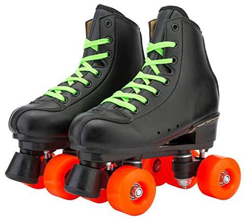 Hmwxbs Retro Leder Rollschuhe mit Orangefarbenem Rad, Jugend Rollschuhe, 4 Räder Verschleißfestes Zweireihiges Eiskunstlauf, Unisex Für Erwachsene Kinder,Schwarz,43