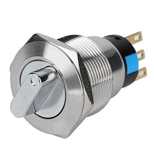 Interruttore rotativo, Acciaio Inossidabile 19 mm Controllo di commutazione IP67 Impermeabile Selettore con Pressione di Esercizio 5-14 N, Interruttore per elettrodomestici(3 Pin e 2 Livelli)
