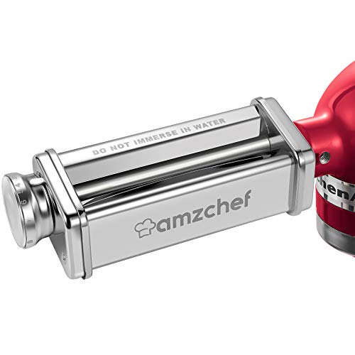 Pasta Sheet Roller Attachment for KitchenAid Stand Mixer, AMZCHEF Stainless Steel Pasta Maker Accessories, Pasta Roller Attachment