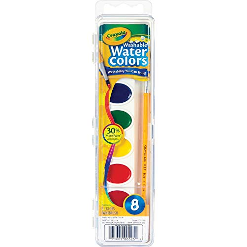 Crayola 530525 Washable Watercolor Paint, 8 Assorted Colors