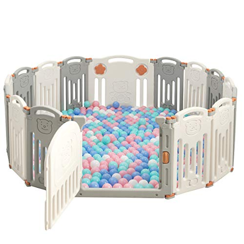 COSTWAY Box 16 Pannelli per Bambini, Recinto Centro Attività Sicuro e Pieghevole, Porta con Chiusura e Giocattoli, per Interno ed Esterno