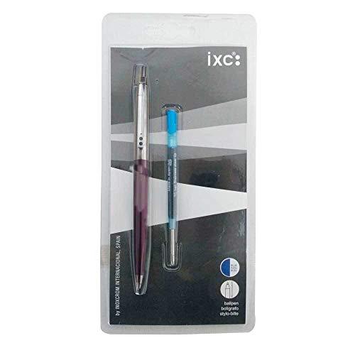 Bolígrafo Inoxcrom B55 Cuerpo en color Rojo presentación en blister + 2 Recambios color Azul