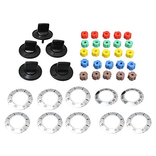 RDEXP 5PCS Elektroherd Range Burner Knob Kit Set Ersatz schwarz 4,9 x 3 cm
