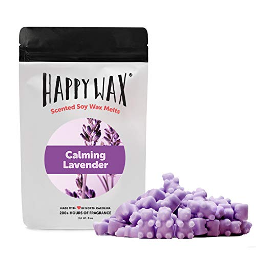 Happy Wax - Calming Lavender Soy Wax Melts - Lavender Scented Wax Melts Infused with Natural Essential Oils - Cute Bear Shaped Wax Melts Perfect for Melting in Your Wax Warmer (8 Oz. Pouch)