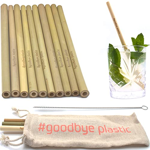 GERNEO® - Labor Geprüft - Strohhalm wiederverwendbar Bambus in Grün - 10er Set + Reinigungsbürste + Togo Bag - Rückgaberecht, kindergeeignet, umweltfreundlich & ohne Plastik