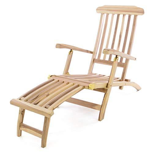 Divero Liegestuhl eleganter Deckchair Florentine Steamer Chair Teakholz unbehandelt