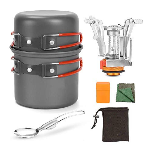 Topaty Camping Cookware Set with Stove and Pan for 1-2 People - Portable Campfire Stainless Steel Cook Gear Traveling Cooking Equipment Utensils Outdoor Cooking Kit for Trekking Hiking Picnic