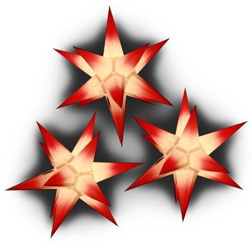 Weihnachtssterne: 3 Sterne beleuchtet weiß mit roten Spitzen, Sternschmiede (ArtNr. 306) mit Kompaktnetzteil