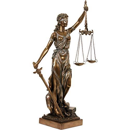 Römische Justitia mit Schwert und Gesetzbuch . Bronziert. 35 cm. F100