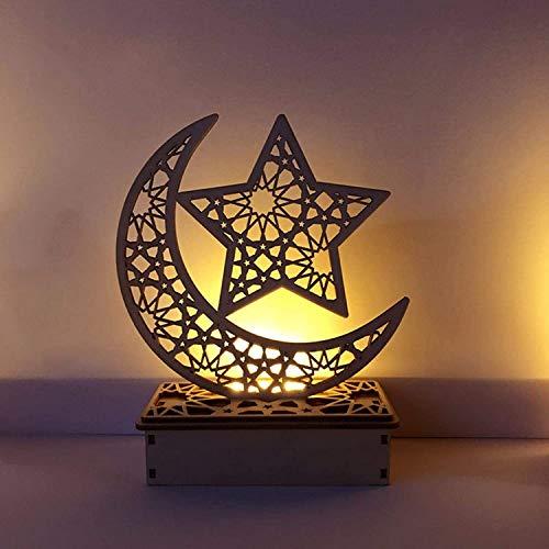 Ramadan - Farol decorativo de madera LED oriental para regalos musulmanes y decoración islámica