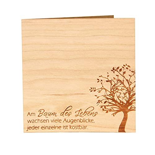 Original Holzgrußkarte - Baum des Lebens - 100prozent Made in Austria, besteht aus Kirschholz - einzigartige Grußkarte mit Bedeutung geeignet als Postkarte, Grußkarte, Spruchkarte, Bildpostkarte UVM.