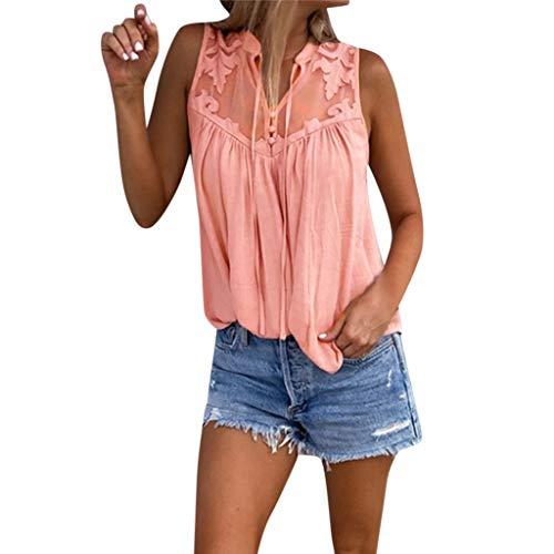 YWLINK Damen Elegant Chiffon Poaychwork Spitze Shirt Lose Freizeit Volltonfarbe MäDchen Mode ÄRmelloses T Shirt Mit V Ausschnitt Tops Bluse(Rosa,S)