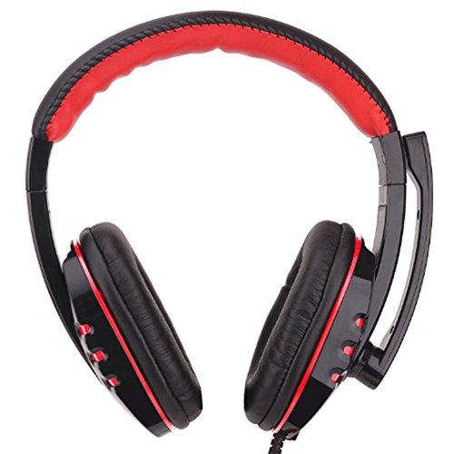 Gaming-Headset mit Mikrofon für PS4, Xbox One, 3,5 mm Kabel, Kopfhörer, Bass, Computer Lautstärkeregler, für Sony PS4, PC, Tablet, Laptop, Smartphone, Xbox One S schwarz / rot