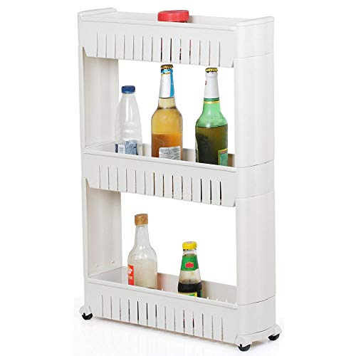 Yaheetech 3-Tier Slim Slide Out Kitchen Trolley, Storage Shelf, Moving Wall Cabinets Tower Holder Rack on Wheels, Rolling Storage Unit Cart for Kitchen/Laundry/Bathroom, White