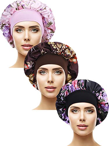 3 Pieces Satin Sleep Cap Elastic Wide Band Hat Night Sleeping Head Cover for Sleeping Supplies Style Set 3 3 Pieces