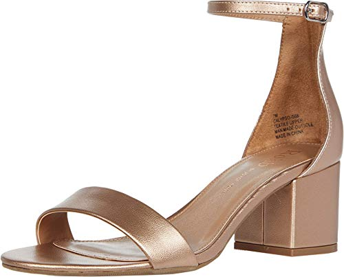 Rohb by Joyce Azria Calypso Mid Heel Ankle Strap Sandal (Rose Gold PU Metallic Leather) Size 8