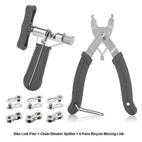 Bike Link Alicates + Medidor de desgaste de la cadena + 6 pares de eslabones faltantes de bicicletas, alicates de cadena para reparación de cadenas de velocidad 6/7/8/9/10 | Herramienta de cadena