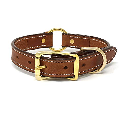 London Tan Leather Dog Collar with Heavy Duty Center Ring and Genuine Leather | Adjustable Dog Collar with Durable Metal Buckle and D Ring for Large and XL Dogs (London Tan, Size)