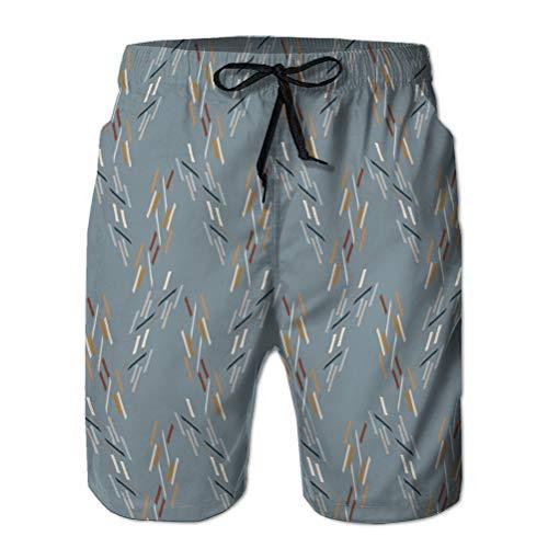 Yuerb Pantalones Cortos de Playa Pantalones Bañador con Bolsillos Hombre Dibujado a Mano líneas garabatos caprichosos sin Costura