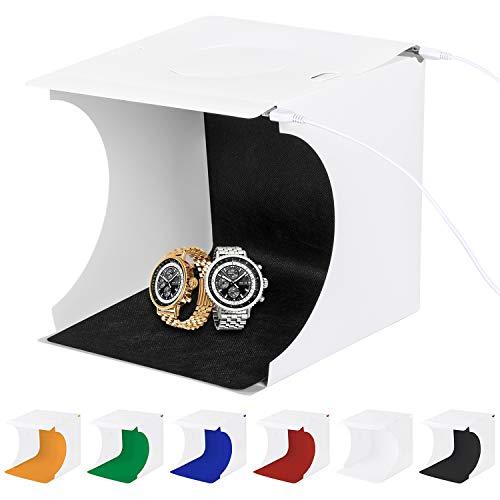 Foto Studio Zelt, Fotografie Studio Kit Portable Leuchtkasten für Fotografie Faltbare Kleine Fotografie Studio mit 2x20 LED-Leuchten 6 Farben Backdrops