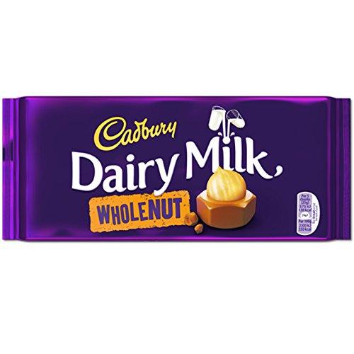 Cadbury Whole Nut Schokolade 2 x 200 g – köstlich cremige Milchschokolade mit ganzen Haselnuss Stücken – leckere Süßigkeit mit vollmundigem Geschmack – Ganze Nüsse
