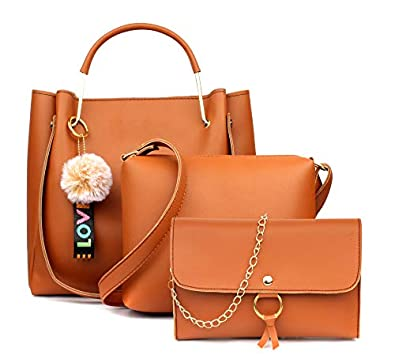 Mammon Women's Stylish Handbags Combo (3LR-Tie-tan) (Tan)