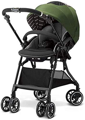 DAGCOT Paisaje de alta Ligera bidireccional cochecito puede sentarse y doble plegable con amortiguador de bebé paraguas del niño, con errores (Color : Green)