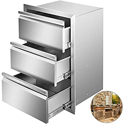 Mophorn Outdoor Kitchen Drawer Stainless Steel 14.7x25.4 Inch Flush Mount Triple Access BBQ Drawers Box Frame Style Perfect for Outdoor Kitchens or BBQ Island