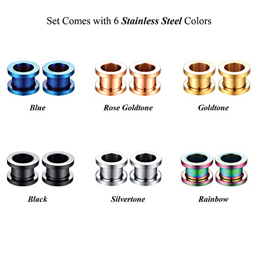 E-Fashion Store 6Pairs 16g~1-3//16 1.2mm-30mm Screw Fit Ear Tunnels Stainless Steel/Ear Plugs Gauge Expander Kit