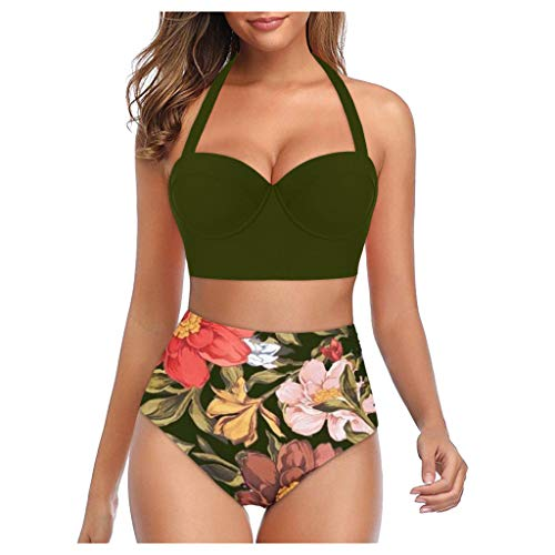 Anglewolf Bikini Tankini Bademode Badeanzug Monokini Retro Groß Größe Bikini Sets Plus Size Bandeau High Waist Bikini Damen Bauchweg Neckholder Bikinis