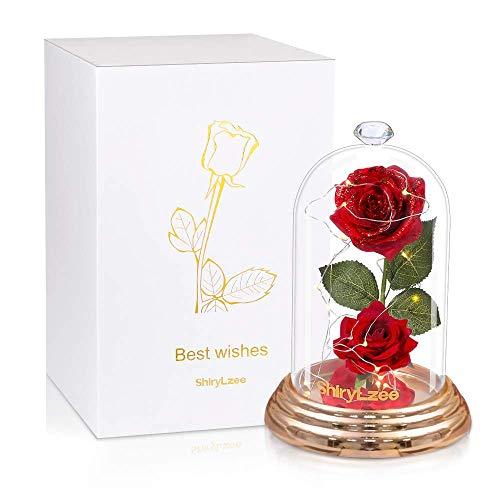 Shirylzee - Rosa eterna de cúpula, rosas encantadoras con luz LED, bonita lámpara de cloche de cristal con caja de regalo, decoración romántica para el día de la madre, San Valentín (rojo)