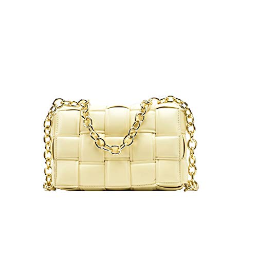 ショルダーバッグの女性クロスボディバッグ女性のためのフラップバッグの織り袋2020品質の革厚い鎖肩メッセンジャーバッグ女性のハンドバッグと財布 (色 : Yellow)