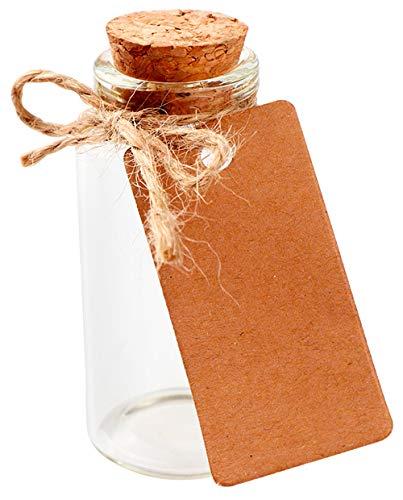 DISOK - Lote de 12 Probetas de cristal con tapón de corcho, ideales para entregar a tus invitados de boda, eventos, fiestas, comuniones, bautizos.