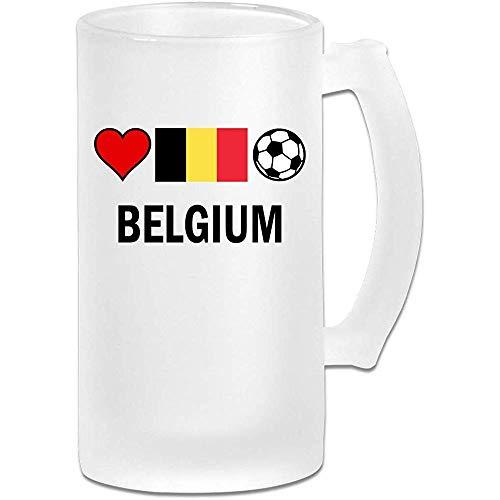 België Voetbal Voetbal Frosted Glass Stein Beer Mok, Pub Mok, Drank Mok, Gift voor Bier Drinker, 500Ml (16.9Oz)