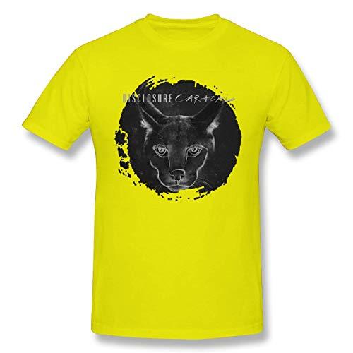 Disclosure Caracal Men T Shirt StyleCotton Short Sleeve Tee Black,Yellow,S