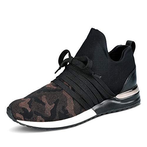 La Strada 1804189 Bronze Camou Damen Sneaker Slipper mit Schnürung und Schlupf, Groesse 41, schwarz/Camouflage