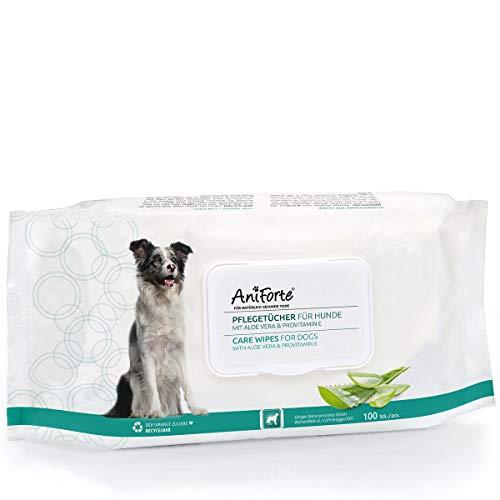 AniForte Pflegetücher für Hunde 100 Stück - XXL desodorierende Reinigungstücher mit Frischeverschluss, hypoallergen, mild, reißfest, natürliche Reinigung, dog wipes
