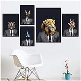 henggfd Fashion Animal Wearing Suit Poster, abstraktes Gemälde, einfache Wandkunst, 3 Paneeldruck, Dekoration, Gemälde, 50 x 70 cm, ohne Rahmen