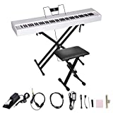 LES AILES DE LA VOIX 88 Weighted Key Portable Digital Piano Electric Piano Home Piano for Beginner Adults with Standard Keys,X Stand,Sustain Pedal,Power Adapter,Headphone and Foldable Piano Bench