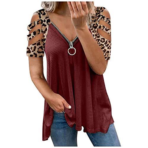 FMYONF Camiseta sin tirantes para mujer, de verano, con hombro frío, manga corta, sexy, cuello en V, con cremallera, color rojo, XXL
