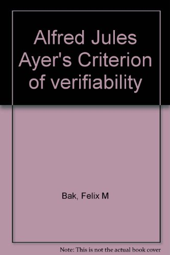 Alfred Jules Ayer's Criterion of verifiability