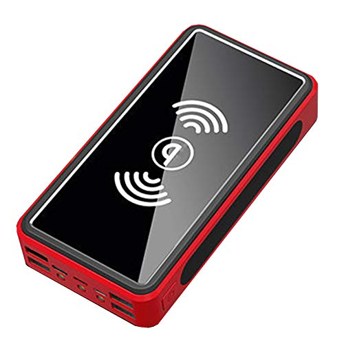 LXFMZ Banco De Energía Solar De 30000Mah, Tesoro De Carga Inalámbrica 4 Salidas USB 3 Entradas Paquete De Baterías De Alta Capacidad De Luz LCD,Rojo,30000mAh