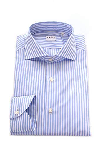 Xacus Camicia Rigata in Cotone da Uomo Bianco/Azzurro,526ML 11222
